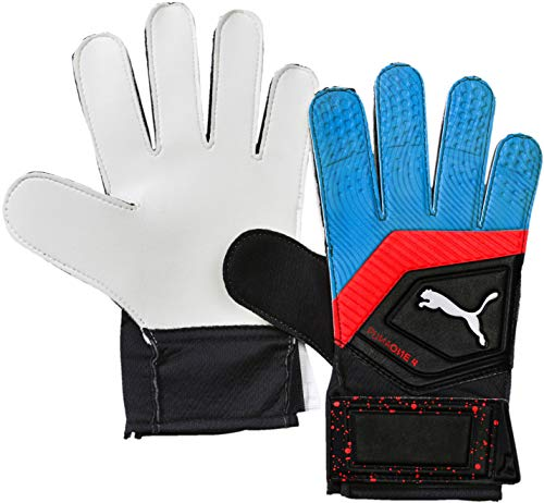 Puma ONE Grip 4 Handschuhe Kinder, Schwarz-Blau Azur-Rot Blast, 10