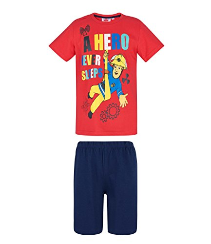 Feuerwehrmann Sam Shorty Pyjama, rot-blau, Gr. 98-128 Größe 116
