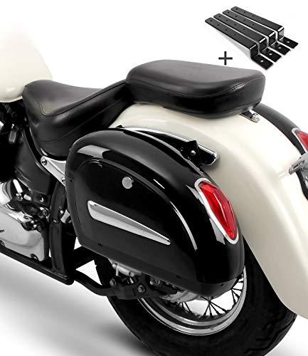Alforjas rigidas (par) Moto Custom Craftride Michigan 18l + Kit de Montaje Yamaha XV 1100/125/ 250/535/ 750 Virago, XV 1600 A Wild Star, XV 1900 Midnight Star, XVS 1300/950 A Midnight Star, XV 950/R
