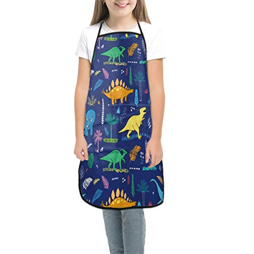 Waldeal Kid's Dinosaur Apron Waterproof Baking Painting Cooking Kitchen Chef Bib Apron with Pockets for Children Boys Girls M 6-12Y