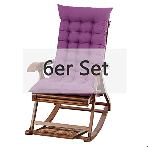 NICEME Gartenstuhlauflagen Hochlehner mit Bindebänder, Schaukelstuhl Sitzpolster 48 x 120 x 7cm für drinnen und draußen, 100 Perlenbaumwolle Lila 6er Set