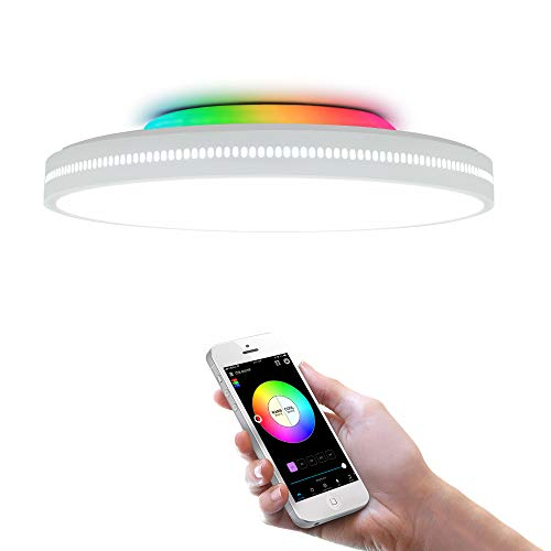 OFFDARKS Smart WiFi Ceiling Light Compatible with Amazon Alexa and Google Assistant, Dimmable Modern LED Ceiling Lamp Color Change Atmosphere Party, for Living Room Bedroom Night Light φ40cm60w