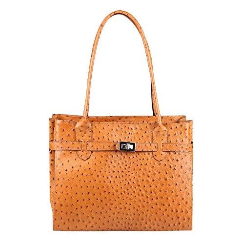 OBC Made in Italy Damen Echt Leder Tasche Straußen-Prägung Business Shopper Aktentasche Schultertasche Handtasche Ledertasche Umhängetasche DIN-A4 Tote Bag (Cognac (Strauß))