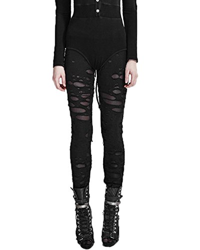 Punk Rave Frauen Sexy Hollow Broken Mesh Stitching Leggings Gothic Skinny Leggings Punk Black Hose Hosen, 2XL