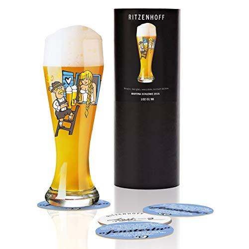 RITZENHOFF tarwe bierglas van Martina Schlenke, van kristalglas, 500 ml, met vijf bierdeksels