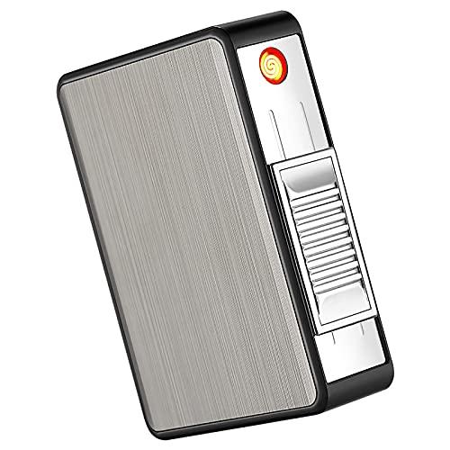 2 en 1 Caja de Cigarrillos con Mechero USB Recargable Cigarrillos Caso Cigarrillos Regulares Sin Llama Encendedor Eléctrico Resistente al Viento
