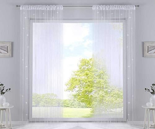 2er Set Fadengardine, HxB 250x140 cm, Weiß Lurex mit Tunneldurchzug und eingenähtem Kräuselband, geeignet für Gardinenstangen und Gardinenschienen Fadenvorhänge Fadenstores Raumteiler, 20303CN2