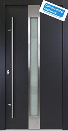Aluminium Haustür AR-G 05/68 68 mm anthrazit Energiesparhaustür mit Edelstahl-Stoßgriff rund 1600 mm + Innendrücker von Online-Fenster-Kaufen (1000mmx2000mm DIN links)