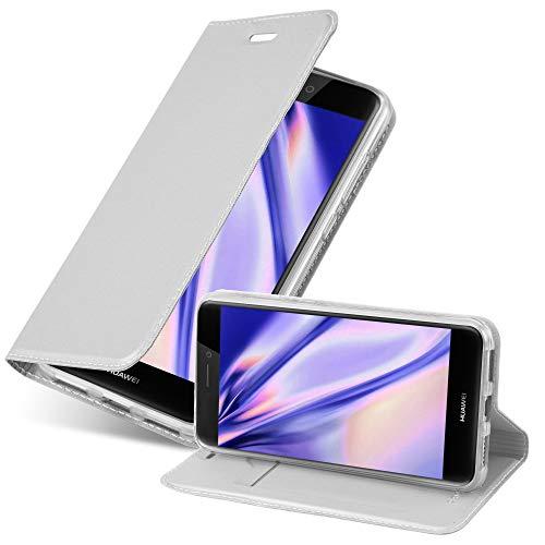 Cadorabo Custodia Libro per Huawei P8 Lite 2017 in Classy Argento – con Vani di Carte, Funzione Stand e Chiusura Magnetica – Portafoglio Cover Case Wallet Book Etui Protezione