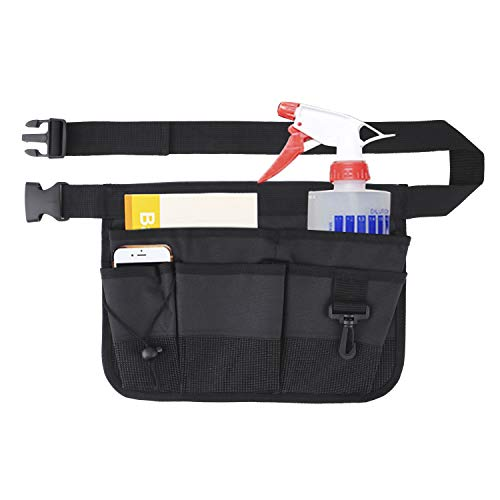 Geboor Gardening Tool Waist Bag Belt Heavy Duty Oxford Tool Apron with 7 Pockets of Different Sizes and Depth (Black)
