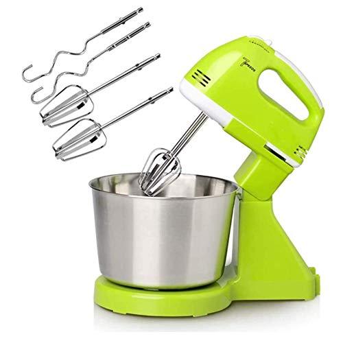 WQSFD Handmixer Küchenmaschine Knetmaschine Mixer(150W, stufenlose Geschwindigkeiten mit langsamem Start + Turbotaste, ergonomischer Griff,Schneebesen & Knethaken aus Edelstahl) 2L,Gelb