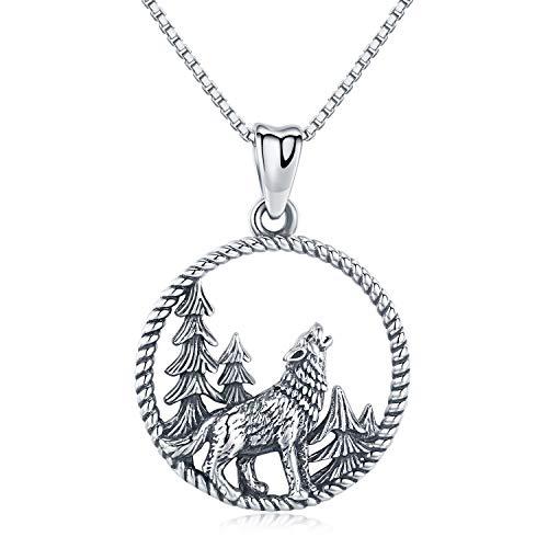Collar de lobo de plata de ley con colgante de lobo para hombre, collar vikingo, set de regalo para mujer, novio, hijo, hermano