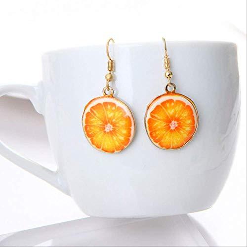 Ohrringe Urlaub Acryl süße Frucht Ohrringe Erdbeer Ananas Tomate Kiwi Orange Gurke Drache Apfel Ananas Frucht Ohrringe zierlicheOrange