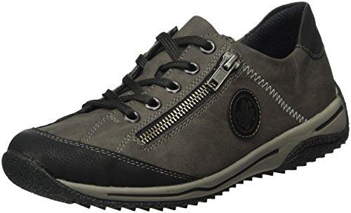 Rieker L5224 Damen Sneaker, Halbschuhe, Sportschuhe, Schnürer, Einlegesohle, mit Reißverschluss grau Kombi (schwarz/fumo/schwarz / 00), EU 38