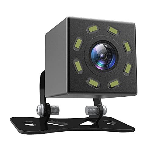 Telecamera per Retromarcia Telecamera per Retrovisione per Auto Con Visione Notturna Ultra HD a 8 LED, Angolo Di Visione Di 170 °, Impermeabile, 12V Universale per Auto/Camion/SUV/Camper
