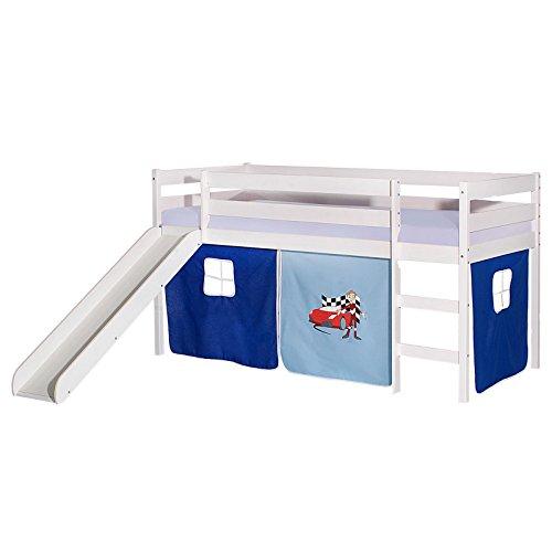 IDIMEX Rutschbett Benny Hochbett Kinderbett Spielbett Holzbett mit Rutsche, Vorhang mit Auto Motiv blau, Kiefer massiv weiß lackiert, 90 x 200 cm