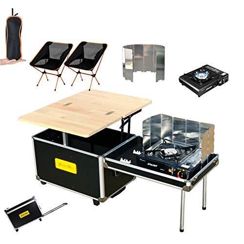 Camping cocina móvil al aire libre 55L capacidad multifuncional caja de almacenamiento de coche con ruedas plegable portátil camping picnic mesa de té para picnic (tamaño: C)