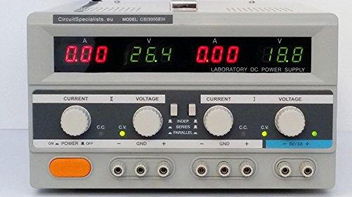 Circuit Specialists CSI 3005EIII Fuente de alimentación lineal de salida de CC laboratoir variable de 0-60 V 0-5 A (0-10 A 0-30 V) con una producción adicional de 5 V fijo