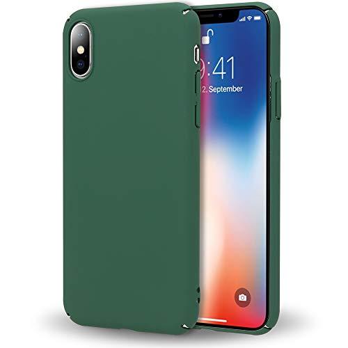 NALIA Custodia Protezione compatibile con iPhone X XS, Cover Ultra-Slim Hard-Case Rigida Protettiva Smartphone Telefono Cellulare, Bumper Sottile en Design Minimalista, Colore:Verde