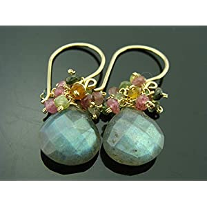Flashing Labradorite and Watermelon Tourmaline Earrings