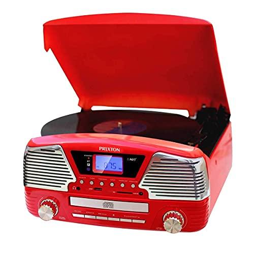 PRIXTON - Tocadiscos de Vinilo Vintage con Altavoces y Bluetooth Integrados / Reproductor de Discos de Vinilo, CDs y mp3 y Convertidor a mp3