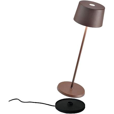 Zafferano - Olivia Pro Aluminium Lampe de Table à LED à Intensité Variable, Base de Chargement par Contact, Protection IP65, Utilisation Intérieure/Extérieure, H35,5cm, Prise EU - Corten