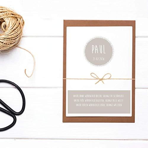 Personalisierte Glückwunschkarte zur Taufe mit Name, Datum und Spruch