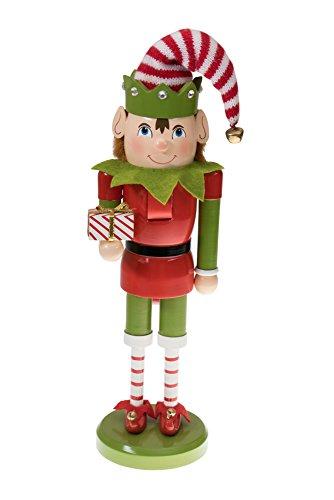 Clever Creations - Weihnachtself-Nussknacker aus Holz - traditionelle Weihnachtsdeko - ideal zum Präsentieren auf Regalen und Tischen - 01 - Elf mit Geschenk