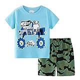 AmzBarley Niños Camiseta Bermudas Conjuntos Camisa de Manga Corta Pantalones Trajes Atuendos Set de Ropa Dos Piezas Algodón