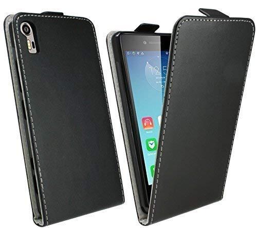 ENERGMiX Klapptasche Schutztasche kompatibel mit Lenovo Vibe Shot Z90-7 in Schwarz Tasche Hülle