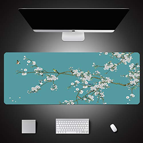 LJUKO Extended Mouse Pad Green Chinese Flower and Bird Pattern 31.5x11.8 inch Gaming Mouse Pad XXL, Mousepad with Anti-Skid Rubber Base & Stitched Anti-Fray Edges,Desk Pad,Great for Laptop Computer &