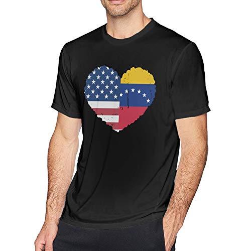 Onita Camiseta de manga corta para hombre, diseño de bandera de Estados Unidos, informal, color negro