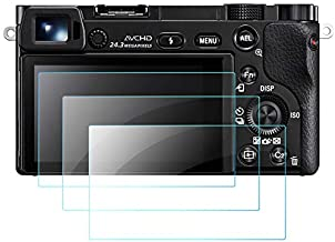 QIBOX Glass Screen Protector Compatible with Sony Alpha A6600 A6100 A6400 A6000 A5000 A6300 NEX-7 NEX-3N NEX-5 NEX-6L, 3-Pack Tempered Glass Anti-scratch Ultra-Clear Cover(NOT for a6500/a5100)