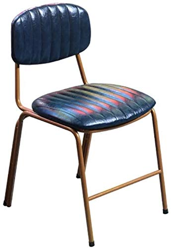 DFQX Best Choice Products Distressed Upholstered Vintage Dining Chairs, Home Furniture for Kitchen, Office w/Metal Frame, Foot Pads, Decorative Stitching