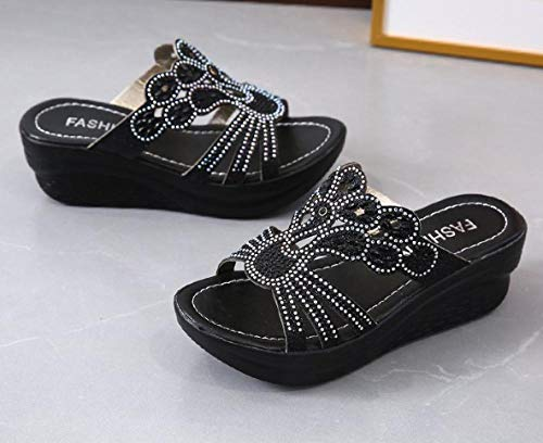 ypyrhh Women's Poolside Open Toe Sandals,Fish mouth slope with a word,non-slip rhinestone platform sandals-black_37,Great-Looking flip flop