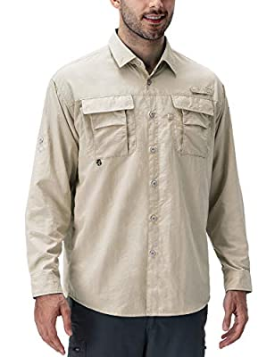 Naviskin Men's UPF 50+ Sun Protection Fishing Shirt Long Sleeve Quick Drying Lightweight Hiking Shirt Cooling Khaki Size L