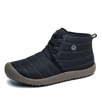 EXEBLUE Winter Snow Boots Slip-on Water Resistant Booties for Men Women, Anti-Slip Lightweight Ankle Boots Lace Up