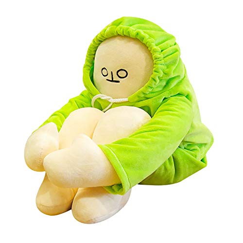 CANAFA Banana Man Dolls Plush Toy Korean Pose Changeable as You Like Banana Figurine Doll Stuffed Toys White Body Dressed in Hoodie Long Hands Legs Pillow Decoration Birthday Gifts