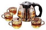 Tetera tetera casero tetera de té, en filtro de vidrio resistente al calor Limpieza de vidrio Flor de vidrio Conjunto de té...