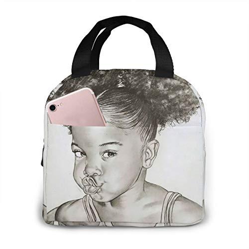 Matthzhang Lunch Bag Black Art African American Women Girl Afro Girls Insulated Lunch Tote Boxes Cooler Bag For Adults Men Women Kids Boys Nurses Teens