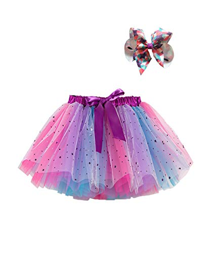Toddler Baby Girls Kid Skirts Ruffled Elastic High-Waist Tulle Tutu Skirt Pearl Sequin Bow Princess Party Casual Outfit (#3 Purple, 4-6T)