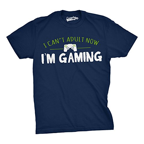 Mens I Cant Adult Im Gaming Funny Video Game T Shirt Sarcastic Cool Gamer Shirt (Navy) - L