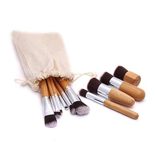 11PCS Professional Bamboo Handle Makeup Brushes Premium Synthetic Kabuki Foundation Blending Blush Brush Liquid Powder Cream Cosmetics Brushes Kit With Bag