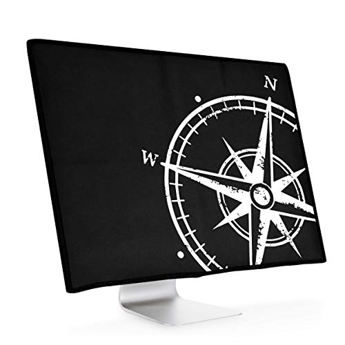 """kwmobile Hülle kompatibel mit 24-26\"""" Monitor - PC Bildschirm Schutzhülle - Computer Cover Case Kompass Vintage Weiß Schwarz"""