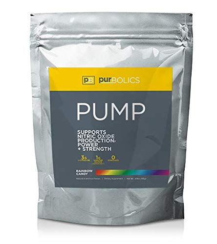 Purbolics Pump | Supports Nitric Oxide Production, Power & Strength | 1g of Agmapure, 3g of L-Citrulline, Stimulant-Free Nitric Oxide Stimulator & 30 Servings (Rainbow Candy)