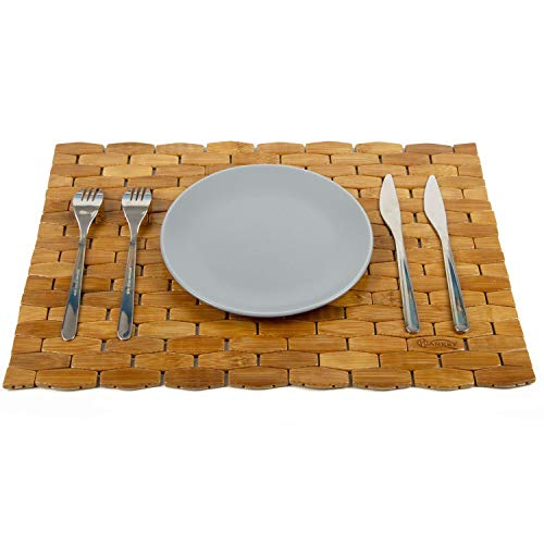 HANKEY Bambus Tischsets, naturfarben, 4er-Set, umweltfreundlich und nachhaltig, Platzset, Esstischunterlage, Hitzebeständig, Dekoration für Tisch