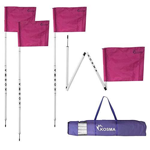 Kosma Set mit 4 faltbaren Eckflaggen | Faltbare Fußball-Trainingsecke – Größe: 152 cm x 25 mm – weißer Stock mit Metallspieß & pinke Flagge – in Tragetasche