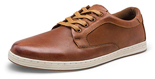 JOUSEN Men's Sneakers Dark Brown Leather Casual Shoes Fashion Dress Sneakers Business Oxford Sneakers for Men(65998A Dark Brown 8)