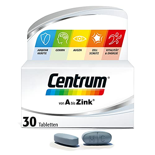 Centrum Von A bis Zink – Hochwertiges Nahrungsergänzungsmittel zur täglichen Komplettversorgung mit Mikronährstoffen – Vitamine, Mineralstoffe, Spurenelemente – 1 x 30 Tabletten
