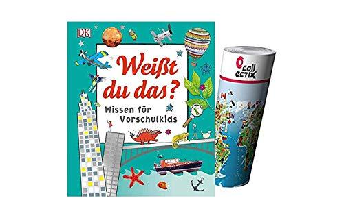 DK Verlag Weißt du das?: Wissen für Vorschulkids (Gebundenes Buch) + Kinder Wimmel Weltkarte, 4 Jahre
